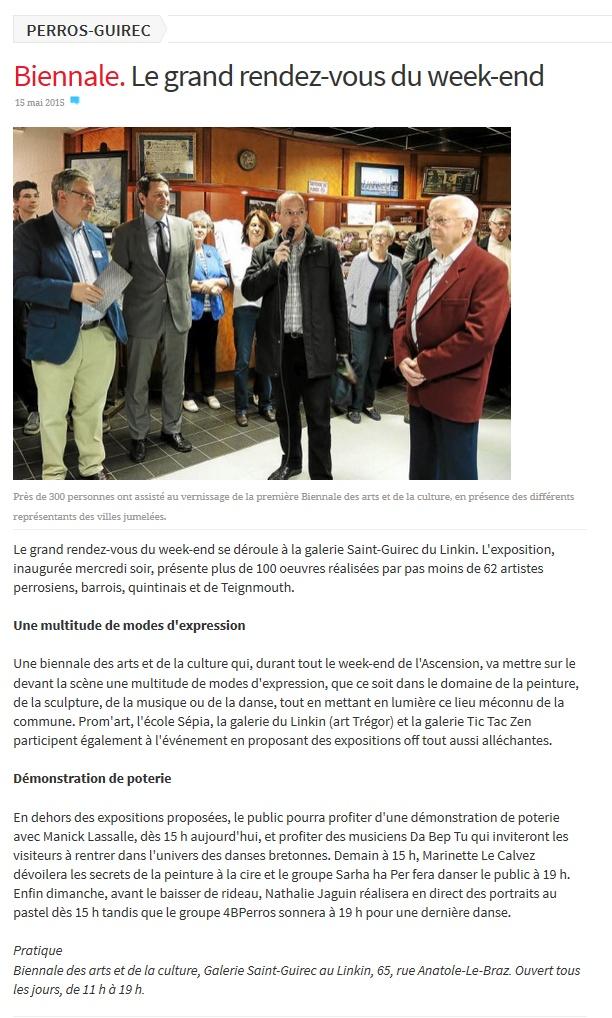 Le Télégramme 15-05-2015