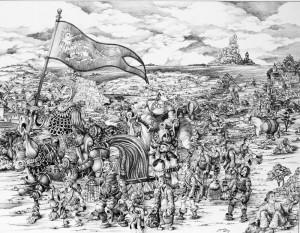 Huile toile Départ de gargantua pour Lutèce