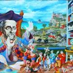 Portrait de Rabelais huile sur toile