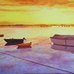 Huile sur toile - Aurore dans le golfe du Morbihan
