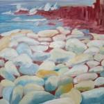 Île-Grande, les galets - Huile - Art Trégor
