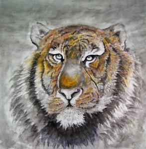Tigre - Peinture chinoise gongbi - Art Trégor