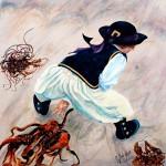 Garçon aux goemons - Acrylique - Art Trégor