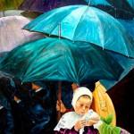 Hortensia et parapluies - Acrylique - Marie-José Le Gall - Art Trégor