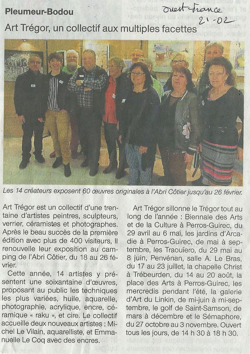 Exposition Art Trégor Ile Grande camping l'Abri Cotier