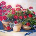Geraniums sur terrasse - Acrylique sur toile