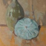 Courge bleue de Hongrie et vase - Huile sur toile