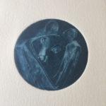 """Photomaton : la chauve souris"""" gravure manière noire, cuve de 8 cm de diamètre env"""