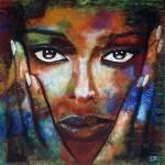 Portrait acrylique-terre-sable de david cadran