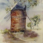 Moulin à vent - Aquarelle - Art Trégor