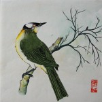 Oiseau en hiver - Peinture chinoise gongbi - Art Trégor