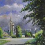 L'église de Ploumillau - 40x50 cm - Gouache