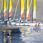 Catamarans à Tresmeur - Acrylique sur toile