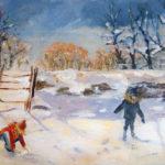 Les enfants dans la neige - Acrylique sur toile