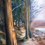 Le sentier des cyprès - Acrylique sur toile